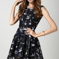 Black Sleeveless Swan Print Pleated A-Line Mini Dress
