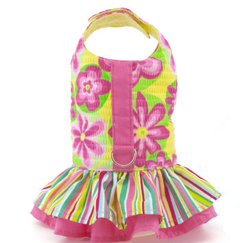 Annie's Yellow and Pink Flower Ruffled Vest Dog Harness