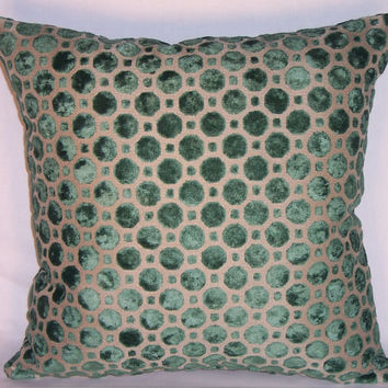 "Bottle Green Sculpted Chenille Throw Pillow Robert Allen Geo Velvet Emerald, 17"" Square, Ready to ship, Cover and Insert, Cut Velvet Dots"