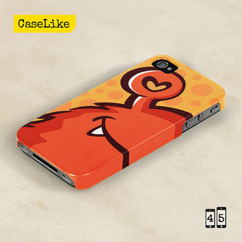 3D iPhone 5 Case - Lovely Orange Cartoon Monster, Full Wrap iPhone Case - 3D iPhone 4 Case, 3D iPhone Cover