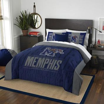 Memphis Tigers NCAA Bedding Modern Take Full/Queen Printed Comforter & 2 Shams Set