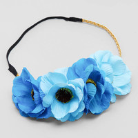 Blue Poppy Flower Crowns on Gold Braid