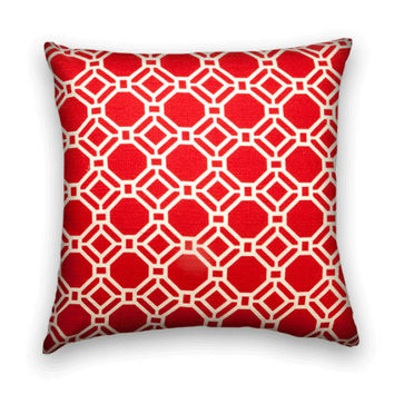 Red Decorative Pillow Cover--20 x 20 --Slubby Cotton Throw Pillow Cover in Red and white.