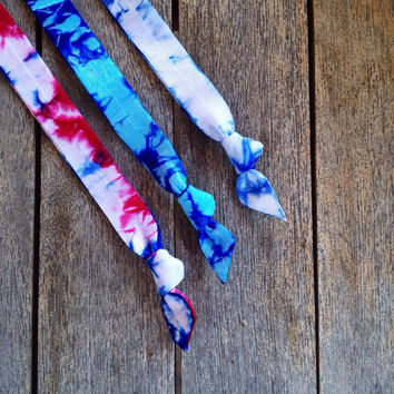 3 Tie Dye Elastic Headbands by Elastic Hair Bandz on Etsy