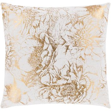 Crescent Pillow Cover - White, Metallic - Gold - CSC014