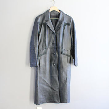 90s Black Leather Long Coat Genuine Leather Trench Coat 80s 90s Suede Trimmed Long Leather Parka Unisex Vintage  Size S - M