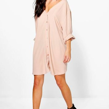 Sade V Neck Off Shoulder Shirt Dress | Boohoo