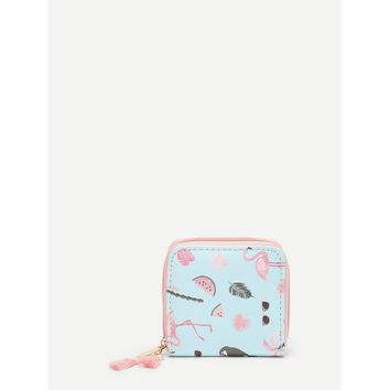 Flamingo Print PU Purse Multicolor