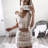 Two Piece Scalloped Sequin Set
