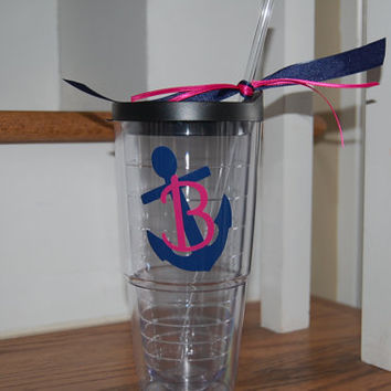 Nautical Anchor Personalized tervis style tumbler 24 oz insulated BPA free double walled Monogrammed for you