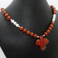 Red Jasper Thunderbird Necklace Natural Stone Dove Jewelry