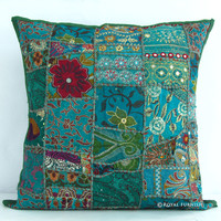 "20"" Gray Green Vintage Patchwork Indian Throw Pillow Cover"