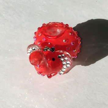 "3.25"" Cherry Red Elephant glass pipe with swarovski elements ears tobacco use"
