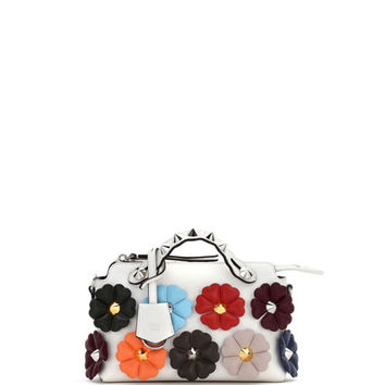 Fendi Small By the Way Studded Flower Satchel Bag, White Pattern