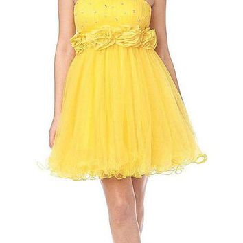 CLEARANCE LIMITED STOCK - Short Yellow Prom Dress Strapless Empire Waist Miniature Rosettes