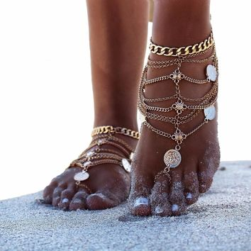 Tassel Sandal Cute Women Ankle Bracelet Ladies Anklet Ankle Chain Leg Jewelry Gold Silver Color
