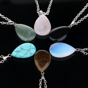 Gift New Arrival Shiny Stylish Jewelry Couple Water Droplets Crystal Turquoise Pendant Necklace [11667669199]