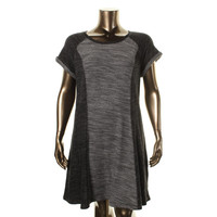 Style & Co. Womens Plus Knit Short Sleeves Sweaterdress