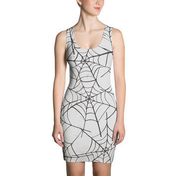 Halloween White Spider Web Dress Sublimation Cut & Sew Dress. Women and Ladies Costume