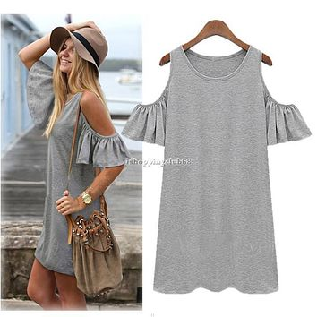 Sexy Women Summer Casual Off Shoulder Evening Party Beach Dress Mini IS6H 01