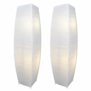 Chrome Floor Lamp Set with Pure-White Paper Shades (Set of 2)