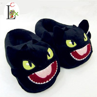 LCX Toothless Train Your Dragon DreamWorks cotton slippers plush home warm slippers Train Your Dragon Black Dragon NightFury