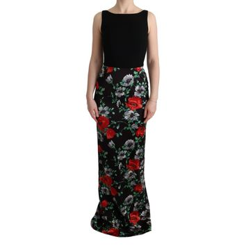 Dolce & Gabbana Multicolor Floral Print Stretch Sheath Long Dress