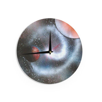 "Infinite Spray Art ""Starburst"" Black Red GalaxyWall Clock"