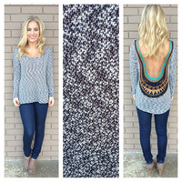 Navy & White Knit Low Back Embroidered Top