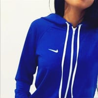 Nike :Fashion Letter Long Sleeve Shirt Sweater Pants Sweatpants Set Two-Piece Sportswear blue