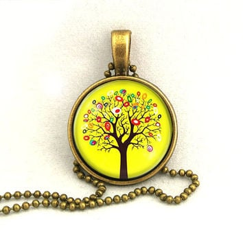 10 SALE Necklace Yellow Oak Tree Pendant Resin Art by timegemstone