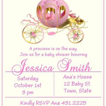 10 Princess Baby Shower Invitations Carriage