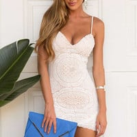 White Lace Spaghetti Strap Bodycon Dress