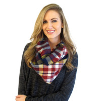Plaid infinity scarf : navy and burgundy