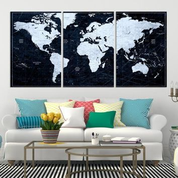 White Colored Push Pin World Map on Jet Black Background