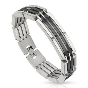Powerhouse Black - Heavy Linked Industrial Black Silver Segmented Stainless Steel Bracelet