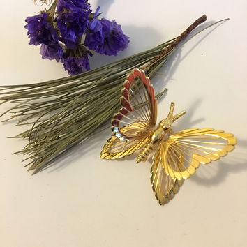 Butterfly Brooch Vintage Monet Gold Plated Spinneret Butterfly Pin Classic 1960 to 1970s Signed Monet Detailed Wire Strung Butterfly Brooch