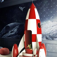 Children Rocket Chair in Fiber Glass and Wood