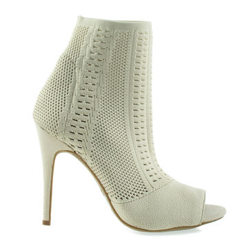 Royals47M Nude By Anne Michelle, Elastic Woven Above Ankle Bootie, Women's Peep Toe High Heel Boots