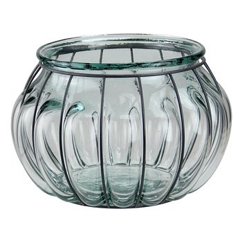 "10.25"" Tea Garden Hand-Made Transparent Recycled Spanish Glass Over-Sized Pillar Candle Holder"