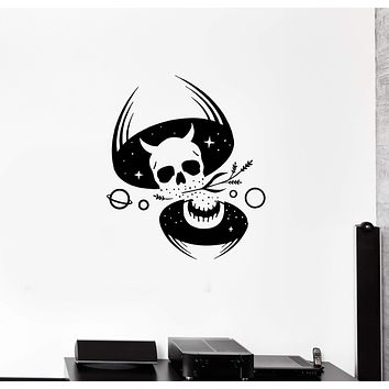Wall Decal Skull Skeleton Night Cosmos Stars Monster Vinyl Sticker (ed1023)