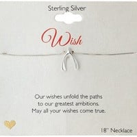 Sterling Silver Wishbone Pendant Necklace, 18""