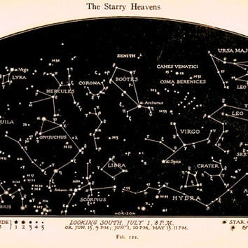 Vintage Constellations Print - Night Sky Stars Art - Star Chart Print - Black and White Sepia Art Print - Natural History Nature Art