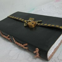 8x6 Customize Secret Diary Handmade Leather Notebook Journal Diary Sketchbook Lock and key -Gift