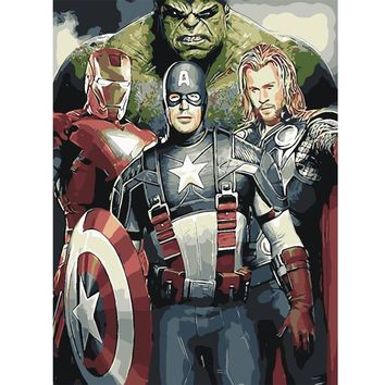 Oil Painting coloring Picture By Numbers DIY Handmade Wall Art Canvas Paint Home Decor The Avengers for room children gift
