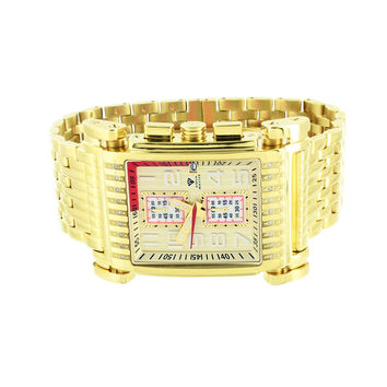 Gold Finish Mens Watch Rectangle Face Genuine Diamonds Aqua Master Unique Style