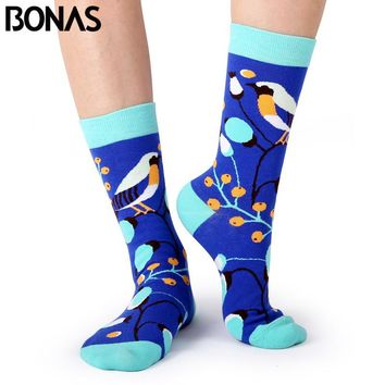 Business Socks Casual Cotton Hosiery Hot Sale Bird Animal Print Sox Women Wedding Gift Fashion Socks
