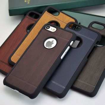 classical  wood Vintage Retro Style PU leather sticker with hard case for iphone 7 6 5 5S 4 4S SE 6S phone case cover funda capa