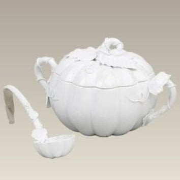 White Pumpkin Tureen with Ladel