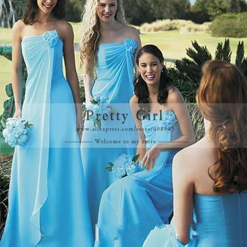 Fashion Light Sky Blue Chiffon Long Bridesmaid Dresses Strapless with Flowers Backless Sexy Wedding Party Dress Vestido 2016